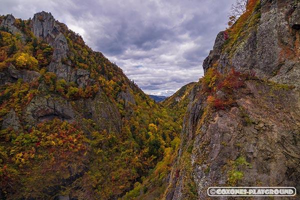 岩肌の見える山々
