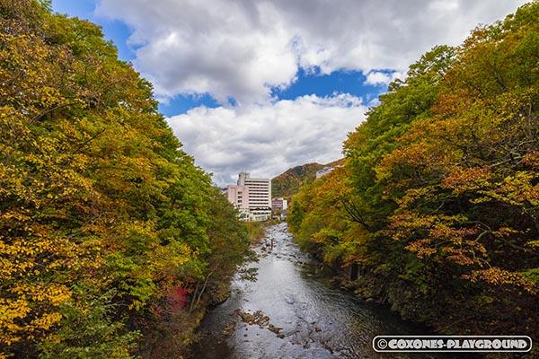 吊橋の上から見る温泉街方向の景色