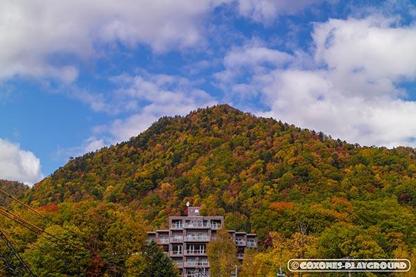 似た形状の山と建物