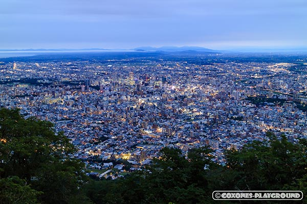 暗くなりはじめた藻岩山山頂からの札幌市街地