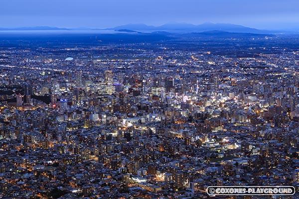 ブルーアワーに染まる藻岩山山頂からの札幌市街地