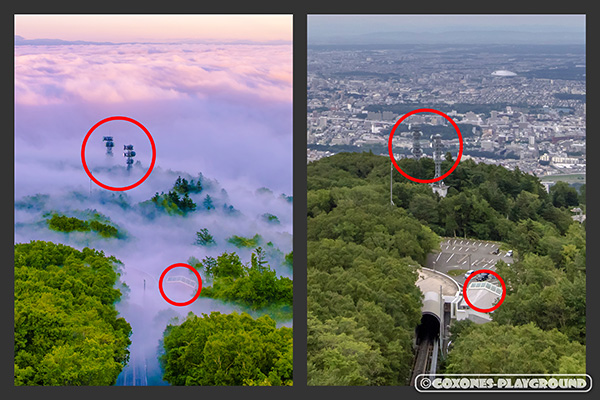 通常の藻岩山からの景色と雲海時の比較