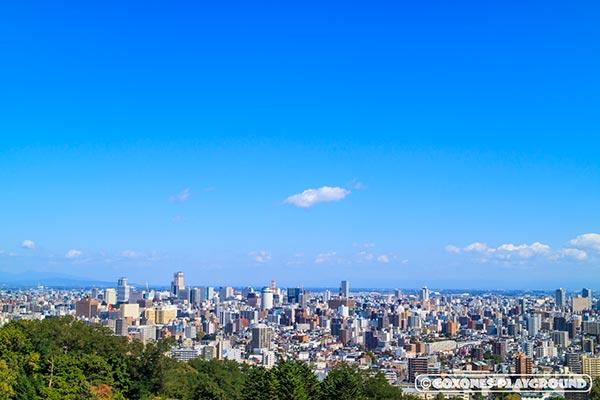 旭山記念公園から眺める札幌市中心部の風景