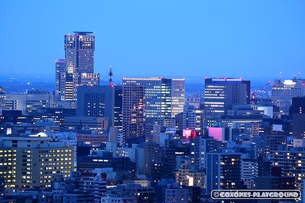JRタワー(札幌駅)付近を拡大した夜景