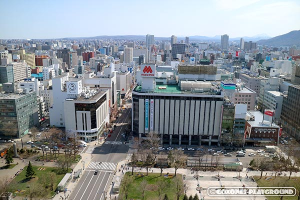 札幌市役所の展望回廊から望む大通公園と中心部の街並み