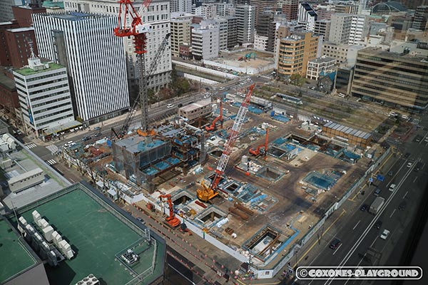 俯瞰で見下ろすさっぽろ創世スクエア建設現場